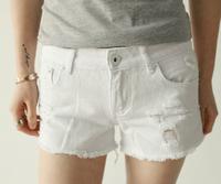 Small 2013 spring elastic slim hip distrressed retro finishing white slim denim shorts sh