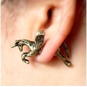 Sunshine jewelry store vintage alchemy gothic unicorn stud earring E422  ( $10 free shipping )