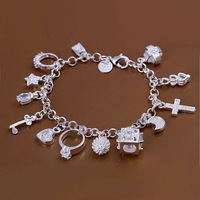 GSSPH144/Valentine's day gift !silver 13 charm bracelet,high quality 925 silver jewelry, silver fashion bracelet jewelry
