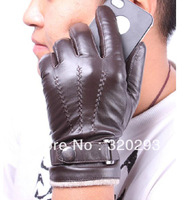 1 Brown Fashion  Mens Genuine Leather Lambskin Wrist Gloves warm winter gloves 3 Lines