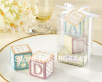 "New arrival  10 sets/lot Baby shower and children favor  ""New Baby on the Block"" Ceramic Baby Blocks Salt & Pepper Shakers"