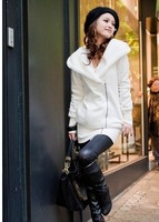 2013 Women's  Free Shipping Hot Sale Fine Quality Hooded Warm Coat White TQ11100501