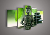 5 Panel Wall Art Religion Buddha Green Oil Painting On Canvas No Frames Stretched Paintings Pictures Decor