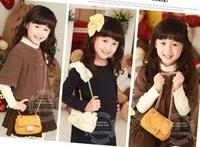 Free shipping 2013 New Style children bags baby messenger bags girls Chain handbags PU Yello White Blue Pink