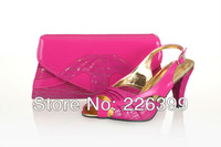 Free shipping 2014 high quality italian fushia pink shoes for women,high heels shoes and matching bags,SB8716