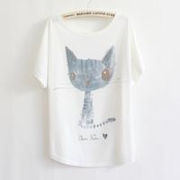 Vivi fashion normic batwing sleeve loose plus size print short-sleeve T-shirt female cat