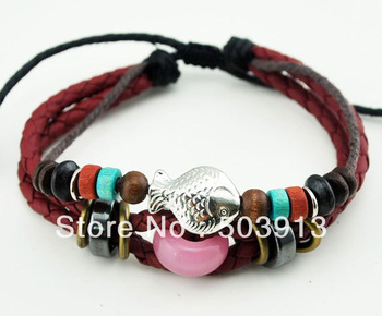 FREE~Wholesale 36pcs ( 3 IN 1 )Vintage Handmade Fish cat eye Surfer Hemp Leather health Bracelet Wristband GIFT Present Jewelry