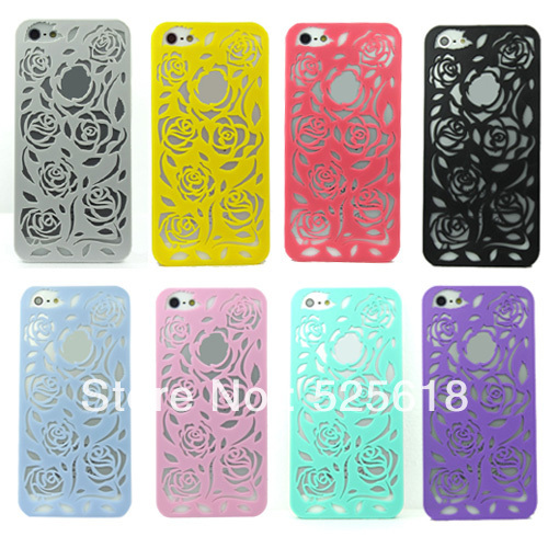 10pcs/lot New arrival fashion Pierced roses phone protective case for iphone5 5G 5GS free drop shipping JS0441(China (Mainland))