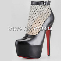 2013 New transparent gauze gladiator sandal boots women 160MM high heel pumps red bottoms booties ankle buckle platform pumps