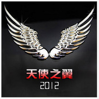 3d three-dimensional solid eagle wings metal stickers personality car beacon metal gold and silver 2 wings