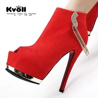 Kvoll velvet open toe platform metal diamond tassel ultra high heels wedding shoes single shoes