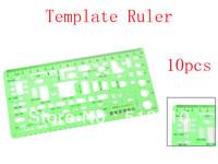 0-18cm Centimeter Measuring Plastic Construction Template Ruler Green 10pcs