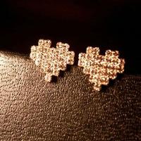 Min Order 12$ 2013 new arrival, high quality, rhinestone heart stud earrings ES0470