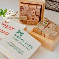 Free Shipping 25pcs/set Creative cute cartoon aminal stamp gift box/wooden stamp/wooden box/Decorative DIY funny work/Wholesale