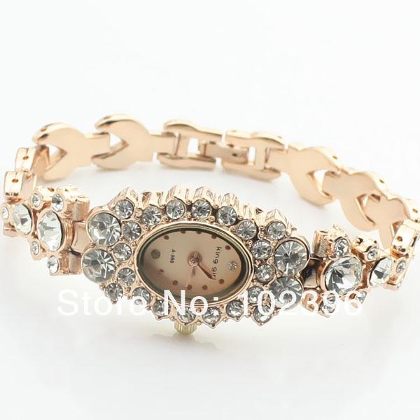 Hot Sale 10pcs/lot Top Quality Fashion Design Jewelry watch Gift Bracelet Watch Gold diamond Waterproof quartz wrist(China (Mainland))