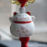 Auto supplies pottery car pendant hangings ceramic charm lucky cat