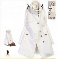 2013 Women's Free Shipping Hot Sale Stand Collar Winter long cotton coat White JR013