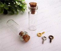 Free ship! 100pcss/lot 10*28mm Glass Bottles With Cork With eye hook Wishing bottle vial 1ML
