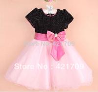 Free shipping 1 piece 2013 summer girls sequins big bowknot chiffon dress