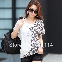 2013 new fashion plus size t shirt women clothing summer sexy tops tee clothes blouses t-shirts Loose printing bats shirt