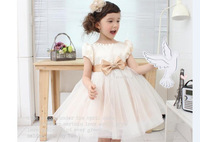 Korean version new princess dress  beige bow baby girl dress
