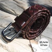 2014 100% Cowhide Genuine Leather Handmade Knitted Men's Straps Belts For Mens Fashion brand designer belt male 3 colors MBT0014