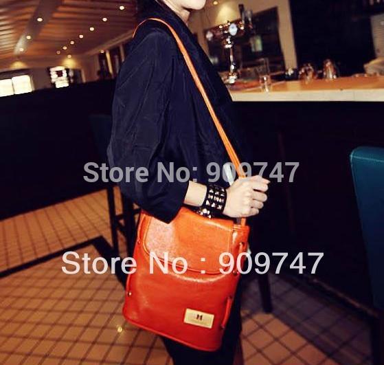 spring summer vintage solid color bucket bag candy messenger shoulder bag shoulder cross body women handbag Free shipping(China (Mainland))
