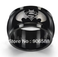 Free Shipping Whole sale Price Black 12mm Stainless Steel Men's  Superman  Wedding band Fashion ring  R189