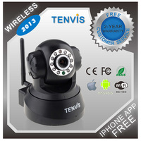 Hot Sell ! Tenvis JPT3815W 2013 indoor Wireless Home-use IP Camera Security CCTV Dual Audio WPA Free DDNS Black Free Shipping