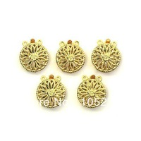 Charming 10 pcs Elegant Gold Plated Round Filigree 3 Strand Clasps Fashion Jewelry Clasp 13mm Wholesale New Free Shipping