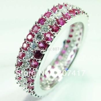 Классический белый кубического циркония и Руби Мода S 925 Серебряное кольцо R1920 SZ # 6 7 8 9