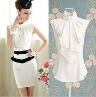 Free shipping sleeveless chiffon shirt stand collar sleeveless strapless female shirt,plus size women clothingS/M/L/XL