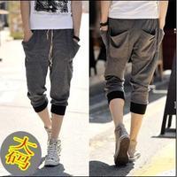Plus size male personality cotton knee length men's capris trousers harem pants fashion harem pants male