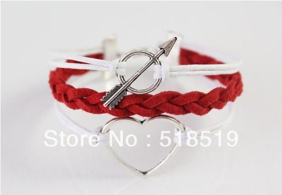 12PCS LOT Free Shipping Silver Alloy Heart Leather Wax Rope Cuff Bracelet Charm Fashion Cupid Women
