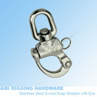87mm, Snap Shackle swivel eye, stainless steel 316, AISI 316, marine hardware, boat hardware, rigging hardware