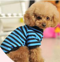 2013 Fashion Blue Stripe Dog Pet Clothes Teddy Dog Shirts Doggy Clothing S-XXL. Free & Drop Shipping