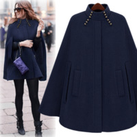 FREE SHIPPING 2014 winter new star style cool cloaks women's warm wool coat with stand collar camel blue c055