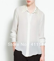 2013 new Promotions hot trendy cozy women blouse shirts jacket T-shirt Fashion metal rivets Liu nail decorative collar chiffon