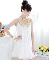 2014 new hot summer Fashion Cozy women clothes Noble elegant chiffon dress lace vest dress casual t shirt princes Sequined vests