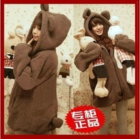 Autumn and winter women bear or rabbit ears belt cartoon plush fleece outerwear with a hood sweatshirtD411A663
