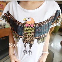 2013 new fashion plus size t shirt women clothing summer sexy tops tee clothes blouses t-shirts Loose cartoon Eagle