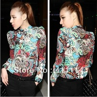 2014 new Promotions hot trendy cozy women blouse shirts jacket T-shirt Fashion Long-sleeved printing Flower JU