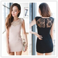 2014 new Promotions hot summer Fashion trendy women clothes Casual Dress cool Slim behind the embroidered lace dress 2 Colors