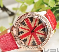 free shipping english flag shape crystal inset wrist watch (Min Order 6$)