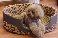 050284  free shipping dog bed house sofa soft leopard print  fashion