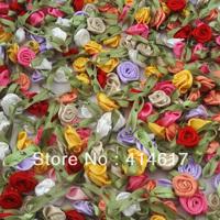 U pick 100pcs Satin Ribbon Flowers Bows Rose Sewing Wedding Appliques