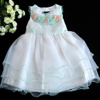 Summer children's clothing female child princess dress formal dress tulle dress child spaghetti strap pearl flower wedding dress