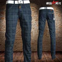 Plaid jeans male fashion plaid pants the trend of lowing pants male fashion slim straight jeans