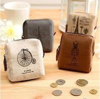 4 pcs/pack Vintage 1207 memory square coin purse wallet card case key wallet coin purse (KG-03)