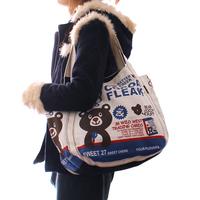 2014 women's  fashion canvas big  student school casual shoulder vintage handbag